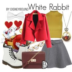 White Rabbit by leslieakay on Polyvore featuring Topshop, Chicnova Fashion, Dr. Martens, Forever 21, Zara Taylor, White House Black Market, Alison Lou, disney, disneybound and disneycharacter