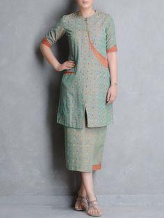 Green-Orange Ikat Cotton Cross Over Kurta by Indian August