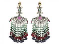 Sanjay Kasliwal 'Indorussian' Fan Earrings in Silver over Gold  The fan-shaped chandelier earrings set with pearls and rose-cut diamonds, accented by ruby, sapphire and emeralds, suspending lines of sapphires, rubies, emeralds and seed pearls, in silver over 14k gold.