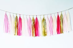 Baby Girl Tassel Garland Blush Fuchsia Pink Gold Baby by GenWoo