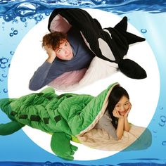 The Animal Attack Sleeping Bag - what do you guys think of this? Animal Attack, Unique Gadgets, Marine Life, Oh The Places You'll Go, Cool Girl, Sleeping Bags, Disney Characters, Fictional Characters, Guys