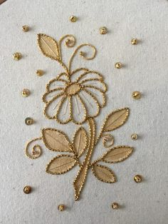 Gold and Metal - Kathleen Laurel Sage Zardozi Embroidery, Embroidery On Kurtis, Hand Embroidery Dress, Embroidery Neck Designs, Bead Embroidery Patterns, Embroidery Works, Simple Embroidery, Gold Embroidery, Hand Embroidery Stitches