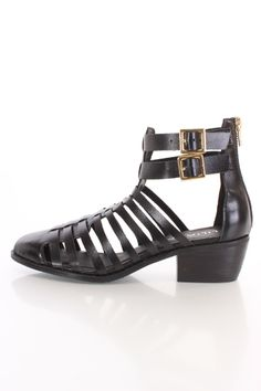 Black Strappy Closed Toe Sandals Faux Leather