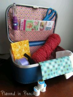 Vintage suitcase repurposed to craft kit