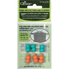 Point Protectors and Stoppers for Knitting Needles Size #...