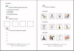 MATERIALES - Clasificar palabras siguiendo las pistas.    Juego en el que hay que recortar las imágenes y pegarlas en el orden que se indica siguiendo las pistas.    http://arasaac.org/materiales.php?id_material=105