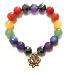 All your chakras targeted in just one piece. Bracelet is composed the various semi-precious gemstones and a 14k gold vermeil lotus (and 14k gold filled beads). The lotus grows from the mud towards the
