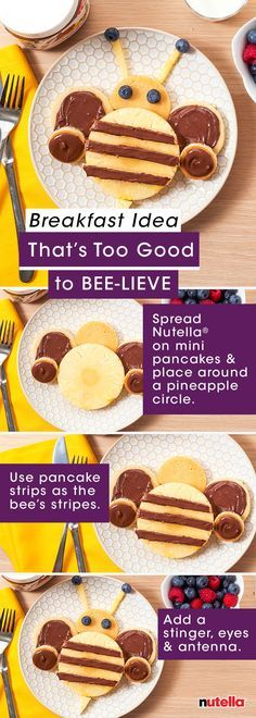 Moms – prepare yourself for a breakfast idea that's too good to bee-lieve. Create lasting morning memories for the kids by having fun with mini-pancakes, pineapple, blueberries and Nutella®. (blueberry recipes for toddlers) Breakfast Pancakes, Breakfast For Kids, Best Breakfast, Mini Pancakes, Breakfast Ideas, Pancakes Kids, Cute Food, Good Food, Yummy Food