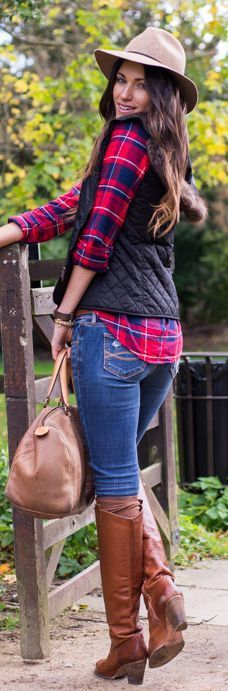 boots, quilted vest and flannel shirt