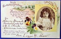 GREETING - THIRD BIRTHDAY GREETING #Birthday.-  http://uruart-collectibles.prestabox.com/en/north-america/809-postcard-greeting-third-birthday-greeting.html