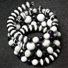 Black and White Crystal Faux Pearl Saucer Glass Acrylic Blue Sandstone Howlite Bracelet - JnE
