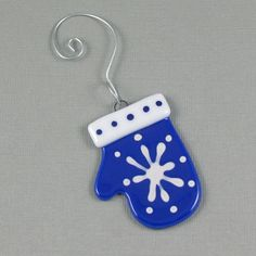 Blue Mitten Ornament Fused Glass Christmas by AngelasGlassStudio, $5.00