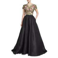 Marchesa Short-Sleeve Floral-Applique Ball Gown ($5,995) ❤ liked on Polyvore featuring dresses, gowns, black, black evening gowns, black floral dress, floral print evening gown, floral ball gown and full skirt