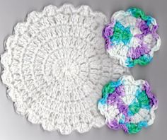 Flower Washcloth and Facial Scrubbie Set, Dishcloth, Coaster, 100% Cotton, White Washcloth, Crochet