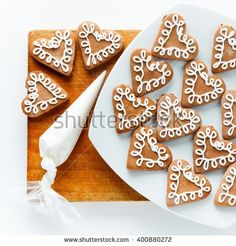 cookies bags of icing on the cookies. drawings of icing on the cookies