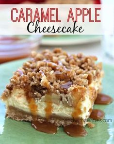 These creamy Caramel Apple Cheesecake Bars start with a shortbread crust, a thick cheesecake layer, and are topped with diced cinnamon apples and a sweet streusel topping. Caramel Apple Cheesecake Bars, Apple Pie Bars, Cheesecake Desserts, Köstliche Desserts, Apple Desserts, Apple Recipes, Carmel Apple Pie Recipe, Apple Carmel Cake, Carmel Apple Cookies