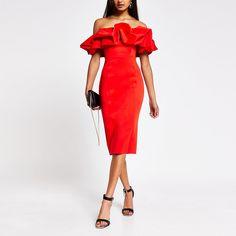 Red bardot ruffle midi bodycon dress | River Island
