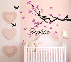Beautiful Personalised name cherry blssom Birds Kid / Nursery  Removable Wall sticker Vinyl wall decals KW-150