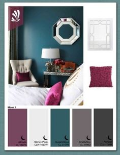 Teal for accent wall behind bed