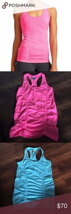 *Bundle* Athleta tank tops Fastest Track tank bundle. Size XS. Pink and blue. Worn once. Basically like new. Each one retails for $49. They are still in stores. Athleta Tops Tank Tops