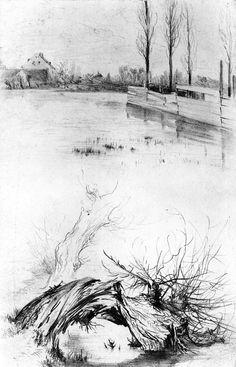 The Athenaeum - The Schafgraben Flooded c. (1842-1843) (Adolph von Menzel - )
