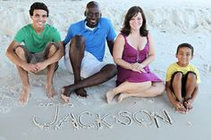 cute beach picture and cute interracial family!