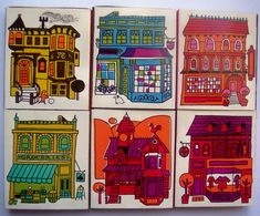 vintage match boxes with house illustrations inspired by San Francisco buildings #art #collectibles #architecture