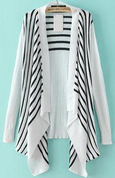 White Long Sleeve Striped Loose Cardigan 22.17