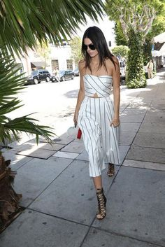 Kendall Jenner tackles two spring trends in one fell swoop—pinstripes and culottes.