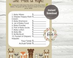 Baby Scattergories Baby Shower Game Woodland by CaraCoPrintables