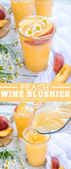 Peach White Wine Slushie Recipe - Peach and White Wine Slushies are easy to make with your favorite white wine and fruit and make the - Refreshing Summer Cocktails, Frozen Cocktails, Wine Cocktails, Best Summer Drinks, Easy Cocktails, Peach Wine, Peach Drinks, Fun Drinks, Alcoholic Drinks