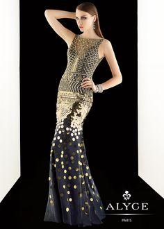 Claudine for Alyce 2392 - Navy Beaded Mermaid Prom Dresses Online