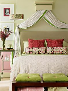 The pink and green - love! The canopy makes a beautiful headboard!