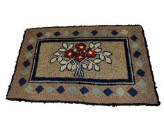 Deco Hooked Rug Foral Pattern