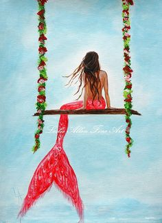 Mermaid Painting Original Canvas  Mermaids by LeslieAllenFineArt, $65.00  https://www.etsy.com/listing/164243313/mermaid-painting-original-canvas?ref=shop_home_active