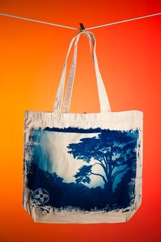 Monterey Cypress cyanotype printed on bag
