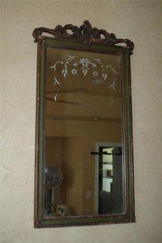 Antique Nurre Carved Wood Framed Beveled Wall Mirror 14 X 29