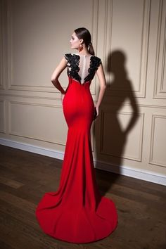 Sheer Neck Mermaid Red Prom Dresses Black Applique See Through Back Sexy  Pageant Gowns Crystal 2015 b97d091a2d5d