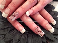 White tips with leopard freehand nail art