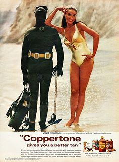 Coppertone Suntan Lotion Julie Newmar Diver - Mad Men Art: The Vintage Advertisement Art Collection Julie Newmar, Bikini Vintage, Vintage Swimsuits, Ursula Andress, Retro Ads, Vintage Advertisements, 1960s Advertising, Advertising Poster, Original Catwoman