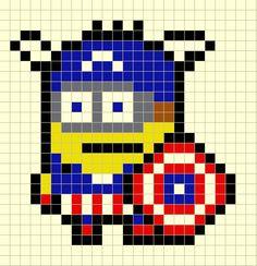 Plantilla Hama Minion Capitán America (Minions) www.tuburbuja.es