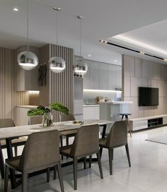 Easiest ways to make elegant modern dining room design ideas 12 - Easiest ways to make elegant modern dining room design ideas 12 - Kitchen Room Design, Dining Room Design, Condo Interior, Interior Design Living Room, Appartement Design, Small Apartment Living, Bedroom Apartment, Küchen Design, Design Ideas