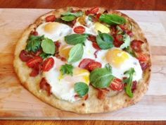 Gluten Free Breakfast Pizza with Baby Greens