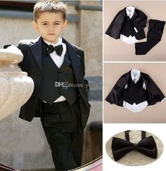 Buy Fashion pinstripe Kid suits Notch Collar Children Costumes Wedding Suit Boys Attire (Jacket+Pants+Tie+Shirt+Vest) at Wish - Shopping Made Fun Black Suit Wedding, Wedding Suits, Wedding Attire, Chic Wedding, Tied Shirt, Shirt Vest, Kids Formal Wear, Fairy Wedding Dress, Wedding With Kids
