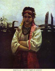 Ilya Repin. Ukranian Girl by a Fence