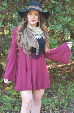 Click to shop - free shipping over $50!  Home Sweet Home Dress - Burgundy – Worn & Raised
