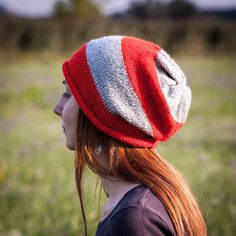 Red Grey Striped Slouchy Beanie Hat / Cute Hand by RUKAMIshop