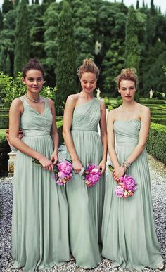 long bridesmaid dresses, Lime green bridesmaid dresses, mismatched bridesmaid dresses, chiffon bridesmaid dresses from Dreamgown Mismatched Bridesmaid Dresses, Wedding Bridesmaid Dresses, Wedding Party Dresses, Prom Party, Party Gowns, Prom Dresses, Mint Green Bridesmaid Dresses, Bridesmaid Color, Long Dresses