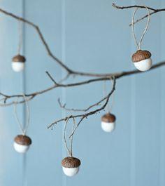 Naturmaterialien Eichel Baumwolle schöne Deko Idee