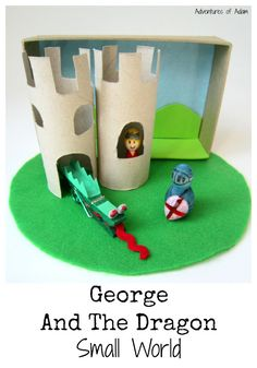 Saint George And The Dragon Small World. Create a small world busy bag for your little one to re-enact the legend of St George and the dragon. George & Dragon, Saint George And The Dragon, Eyfs Activities, Activities For Kids, Knights And Castles Topic, Junk Modelling, Fun Crafts, Crafts For Kids, St Georges Day